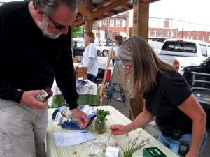 Laughing Water Farm's Antoinette Goodrich at the Marion Farmers' Market